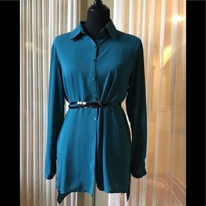 Teal colored high low blouse